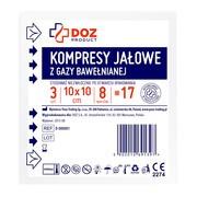 DOZ PRODUCT Kompresy jałowe z gazy bawełnianej, 17 nitkowe, 8 warstwowe, 10 x 10 cm, 3 szt.