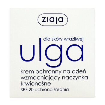 Ziaja Ulga dla skóry wrażliwej, krem ochronny na dzień wzmacniający naczynka krwionośne, SPF 20, 50 ml