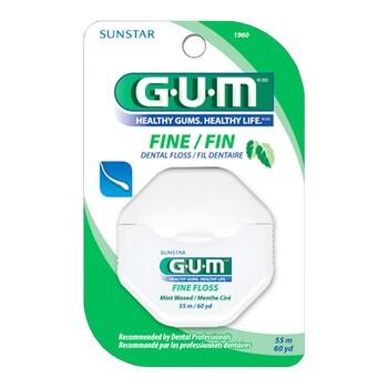 Gum Fine Floss, nić dentystyczna, woskowana, 55 m