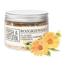 Fresh&Natural, rozgrzewająca sól do kąpieli, nagietek, cynamon, pomarańcza, 500 g