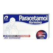 Paracetamol Farmina, 50 mg, czopki dla niemowląt, 10 szt.