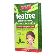 Beauty Formulas, głęboko oczyszczające paski na nos, tea tree, 6 szt.