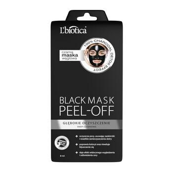 L`Biotica Black Mask Peel-Off, czarna maska węglowa, głęboko oczyszczająca, 8 ml