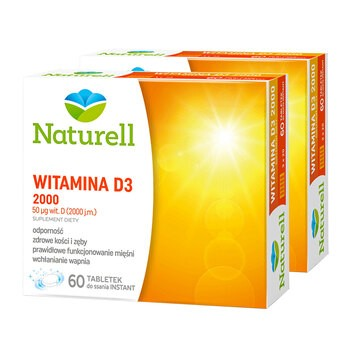 Zestaw 2x Naturell Witamina D3 2000, tabletki do ssania, 60 szt.