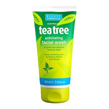 Beauty Formulas, złuszczający żel do mycia twarzy Tea Tree, 150 ml