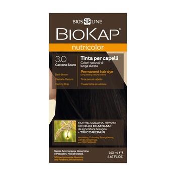 Biokap Nutricolor, farba do włosów, 3.0 ciemny brąz, 140 ml