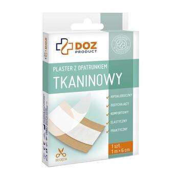DOZ PRODUCT Plaster z opatrunkiem, tkaninowy, 1 m x 6 cm, 1 szt.
