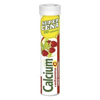 Calcium + witamina C, tabletki musujące o smaku poziomkowym, 20 szt.