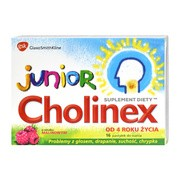 Cholinex Junior, pastylki do ssania, smak malinowy, 16 szt.
