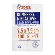 DOZ PRODUCT Kompresy niejałowe z gazy bawełnianej, 17 nitkowe, 8 warstwowe, 7,5 x 7,5 cm, 100 szt.