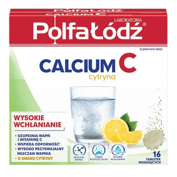Laboratoria PolfaŁódź Calcium C, o smaku cytrynowym, tabletki musujące, 16 szt.