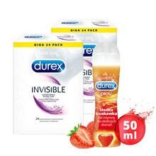 Zestaw 2x Durex Invisible 24 szt. prezerwatywy + żel