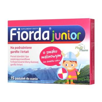 Fiorda Junior, pastylki do ssania o smaku malinowym, 15 szt.