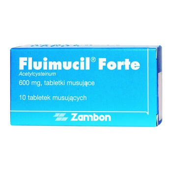 Fluimucil Forte, 600 mg, tabletki musujące, 10 szt.