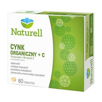 Naturell Cynk Organiczny + C, tabletki, 60 szt.