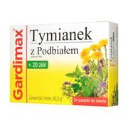 Gardimax Tymianek z Podbiałem + 20 ziół, pastylki do ssania, 24 szt.
