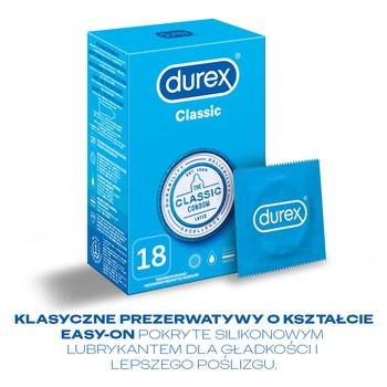 Durex Classic, prezerwatywy ze środkiem nawilżającym, 18 szt.