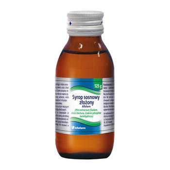 Syrop sosnowy złożony (Sirupus Pini Compositum) Aflofarm, (1283,1 mg + 194,4 mg + 9,72 mg)/15  ml, syrop