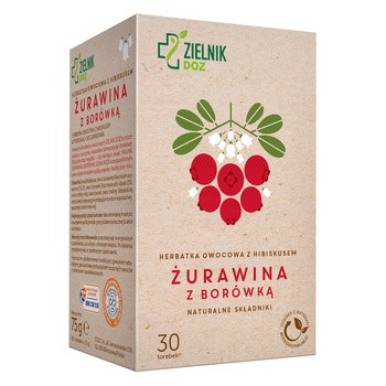 ZIELNIK DOZ Żurawina z borówką, herbatka owocowa z hibiskusem, 30 saszetek