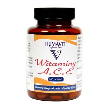 Humavit V Witaminy A, C, E, tabletki, 200 szt.