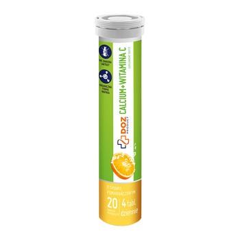 DOZ PRODUCT Calcium + Witamina C, tabletki musujące, smak pomarańczowy, 20 szt.