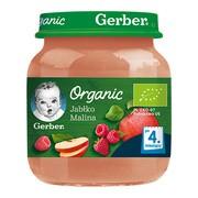 Gerber Organic, deser jabłko malina, 4 m+, 125 g