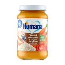Humana 100% Organic, obiadek warzywa z ryżem i indykiem, bez dodatku soli, 6 m+, 190 g