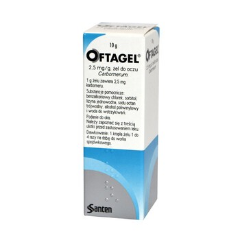 Oftagel, żel do oczu, (2,5 mg / g), 10 g