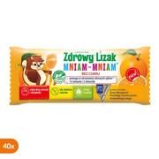 Zdrowy Lizak Mniam-Mniam na koncentrację i odporność, smak pomarańczowy, lizaki, 40 szt.