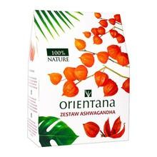Zestaw Promocyjny Orientana Ashwagandha, krem żeń-szeń indyjski, 40 g + peeling, papaja i żeń-szeń indyjski, 50 g + maska z naturalnego jedwabiu, granat i zielona herbata, 1 szt.