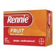 Rennie Fruit, 680 mg + 80 mg, tabletki do ssania, smak owocowy, 24 szt.