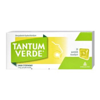 Tantum Verde, 3 mg, smak cytrynowy, pastylki twarde, 20 szt.