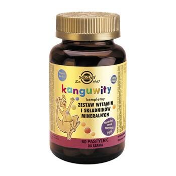 Solgar Kanguwity Zestaw witamin i minerałów, pastylki do ssania o smaku jagodowym, 60 szt.