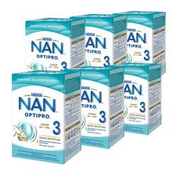 Zestaw 6x Nestle Nan Optipro 3, mleko modyfikowane Junior dla dzieci po 1 roku, 800 g
