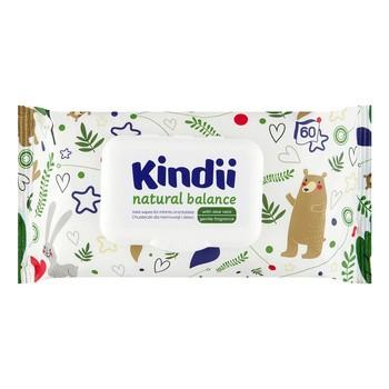 Cleanic Kindii Natural Balance, chusteczki dla niemowląt i dzieci, 60 szt.