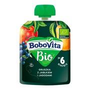 BoboVita Bio, mus gruszka z jabłkiem i jagodami, 6 m+, 80 g