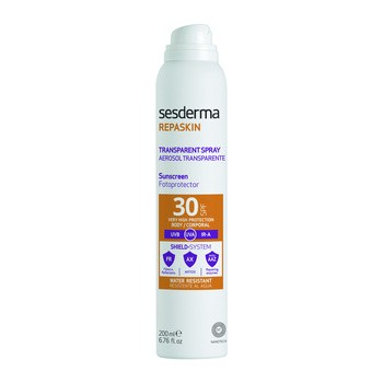 Sesderma Repaskin Transparent Spray Aerosol, transparentny fotoprotektor SPF 30+, 200 ml