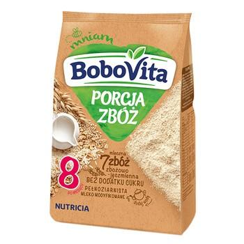 BoboVita Porcja Zbóż, kaszka mleczna, 7zbóż, zbożowo-jęczmienna, 210 g