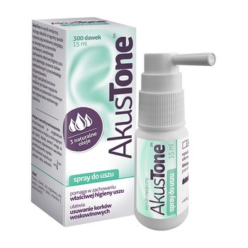 Akustone, spray do uszu, 15 ml (300 dawek)