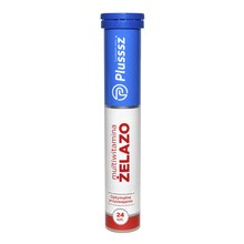Plusssz Żelazo+Multiwitamina, tabletki musujące o smaku wiśniowo-pomarańczowym, 24 szt.