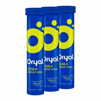 Zestaw 3x Oryal, tabletki musujące, smak limonkowo-cytrynowy, 20 szt.