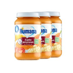 Zestaw 3x Humana 100% Organic, zupka jarzynowa, bez dodatku soli, 190 g
