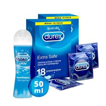Zestaw 2x Durex Extra Safe 18 szt. + żel