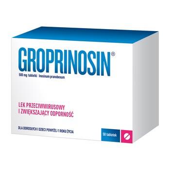 Groprinosin, 500 mg, tabletki, 50 szt.