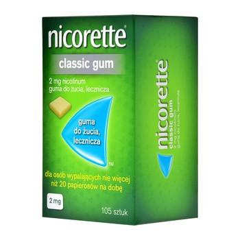 Nicorette Classic Gum, 2 mg, guma do żucia, 105 szt. (import równoległy, Delfarma)