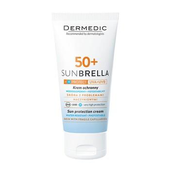 Dermedic Sunbrella, krem ochronny SPF 50+, UV+IR, skóra z problemami naczyniowymi, 50 g