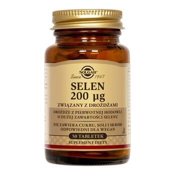Solgar Selen, 200 µg, związany z drożdżami, tabletki, 50 szt.