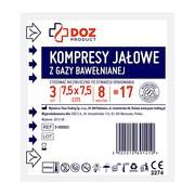 DOZ PRODUCT Kompresy jałowe z gazy bawełnianej, 17 nitkowe, 8 warstwowe, 7,5 x 7,5 cm, 3 szt.