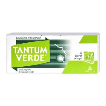 Tantum Verde smak miętowy, 3 mg, pastylki twarde, 20 szt.