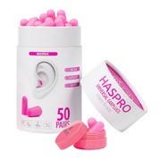 Haspro Tube 50, stopery do uszu, różowe, 50 par